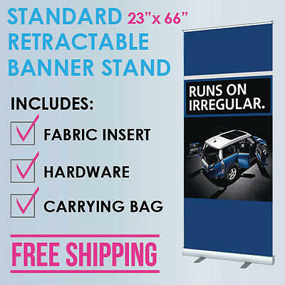 23x66 Retractable Roll Up Banner Stand Trade Show Display Free Fabric Print