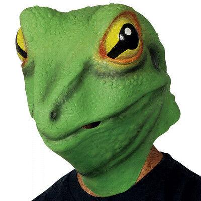Lizard Costume (ADULT FROG PRINCE MASK LIZARD GECKO KERMIT ANIMAL COSTUME GREEN LATEX)
