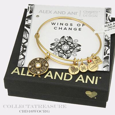 Authentic Alex and Ani Wings of Change Rafaelian Gold Charm Bangle CBD (Gold Charm Bangle)