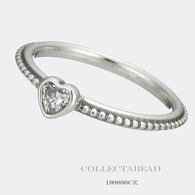 Authentic Pandora Sterling Silver One Love Clear CZ Ring Size 48 (4.5) 190896CZ