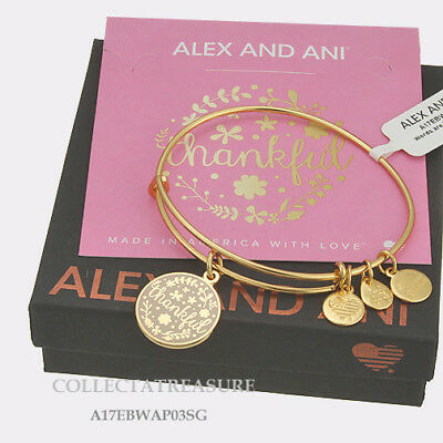 Authentic Alex And Ani  Thankful  Expandable Charm Yellow Gold Bangle