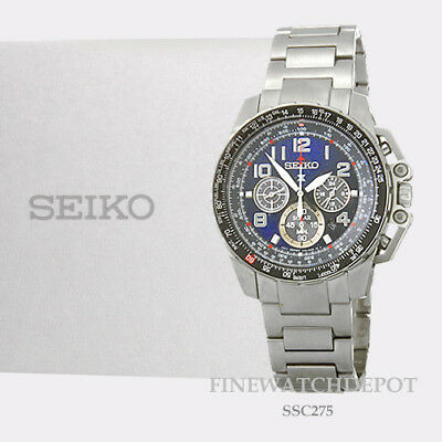 Authentic Seiko Men's Prospex Solar Chronograph Blue Dial Watch SSC275