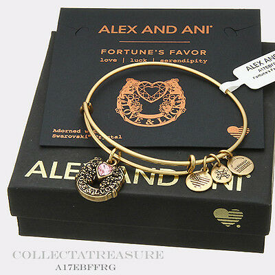 Authentic Alex And Ani Fortunes Favor Rafaelian Gold Expandable Charm Bangle