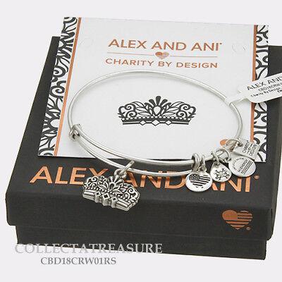 Authentic Alex and Ani Queen's Crown (IV) Rafaelian Silver Charm Bangle CBD