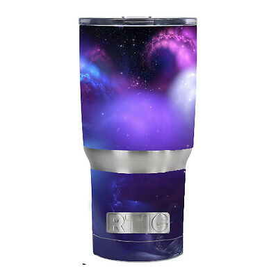 18 Ounce Purple Vinyl (Skin Decal for RTIC 20 oz Tumbler Cup (5-piece kit) / space gasses purple cloud )