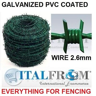 200mt galvanized green pvc coated barbed wire wire 2.6mm wire mesh fencing
