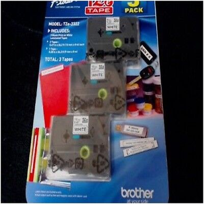 Brother P-touch White Laminated Label Maker Tape 3 Pack Tze-2322