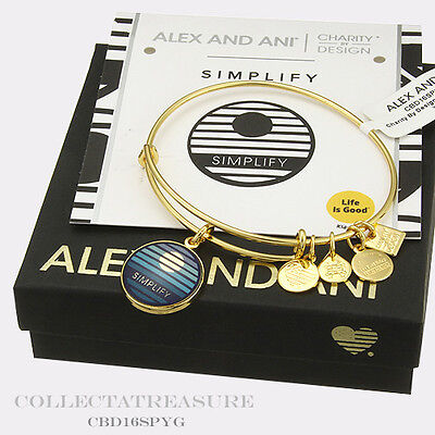 Authentic Alex And Ani Simplify Yellow Gold Charm Bangle Cbd