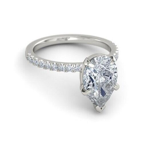 1 Carat Pear Cut D Vs2  Enhanced Diamond Solitaire Engagement Ring White Gold