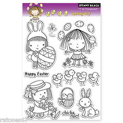 New Penny Black SPRING DAY Clear Stamps Mimi Girl Happy Easter Bunny Chicks Eggs
