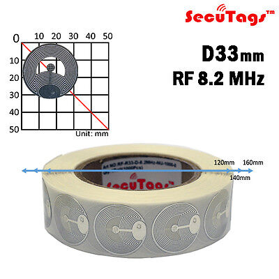 Eas Anti Theft Security Checkpoint Round Tag Rf Silver 8.2mhz 1000pcs 33mm