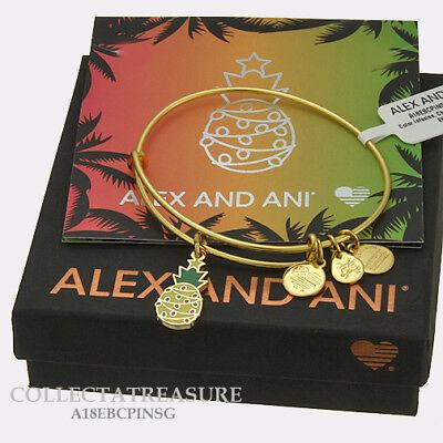 Christmas Pineapple - Authentic Alex and Ani Christmas Pineapple Yellow Gold Expandable Charm Bangle