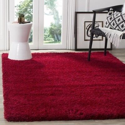 Solid Cozy Red Shag Area Rug Rugs 8' x 10' 4 6 5 8 7 10 8 10 9 12 10 13 11 15 Square Red Shag Rug