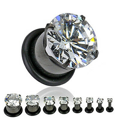 PAIR (2) Black Titanium Large Clear CZ Gem EAR PLUGS Piercing Gauges Earrings