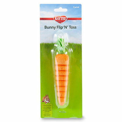 Bunny Flip N Toss Toy (KAYTEE BUNNY FLIP N TOSS CARROT SUPER PET RABBIT CHEW TOY. WOOD BASE NEW)