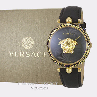 Authentic Women's Versace Black Leather Palazzo Empire Watch VCO020017