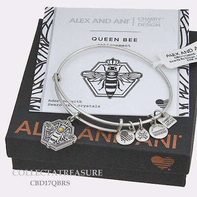 Authentic Alex and Ani Queen Bee Rafaelian Silver Charm Bangle CBD