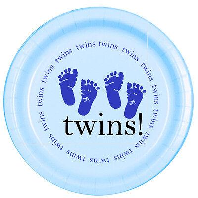 Blue Baby Boy Shower Party TWINS! FOOTPRINTS DESSERT CAKE PLATES