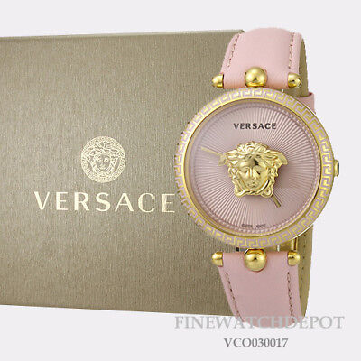 Authentic Women's Versace Pink Leather Palazzo Empire Watch VCO030017