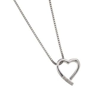 Sterling Silver Heart Pendant with Diamonds