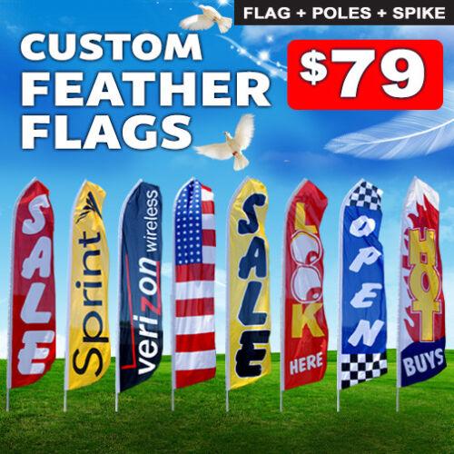 Full Color Custom Tall Swooper Advertising Flag Feather Banner Digital 15 FT.