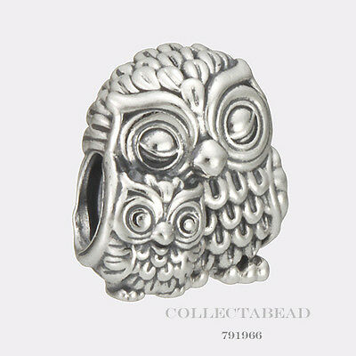 Authentic Pandora Sterling Silver Charming Owls Bead 791966