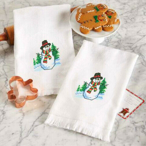 Holiday Stamped Cross-Stitch Terry Towel Pair w/ Merry Snowm