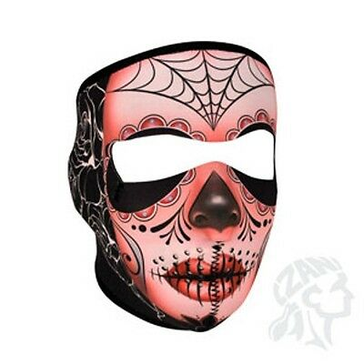 Sugar Skull Roses Day of Dead Fleece Lined Neoprene Full Face Mask Biker Costume