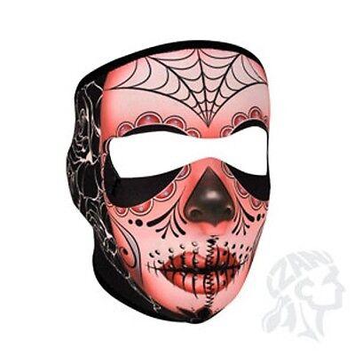 - Muerte Sugar Skull Roses Spider Web Neoprene Full Face Mask ATV Biker Paintball