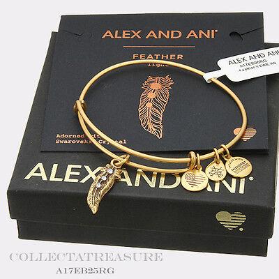 Authentic Alex And Ani Feather  Ii  Rafaelian Gold Expandable Charm Bangle