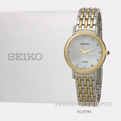 Authentic Seiko Solar Mother-of Pearl Dial 12 Diamonds Women's Watch SUP398