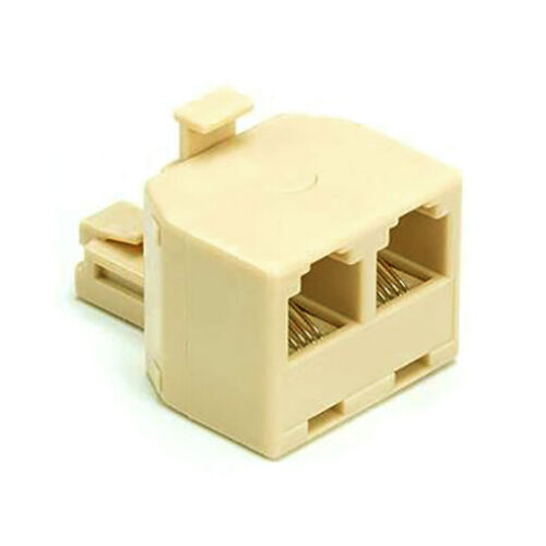 2 Way Modular TELEPHONE Line Cable Wall Outlet SPLITTER Double Jack Connector
