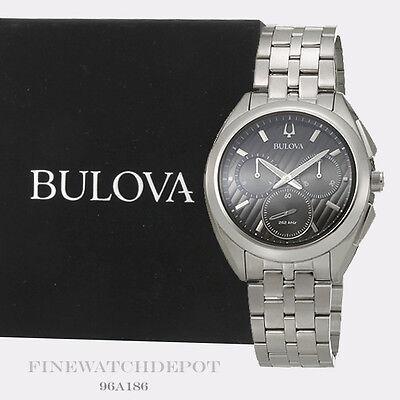 Authentic Bulova Men's Chronograph Curv Stainless Steel Bracelet Watch 96A186