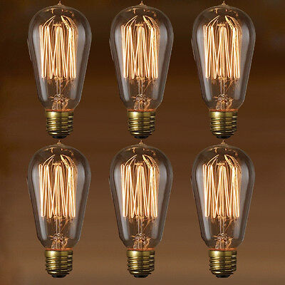 EDISON BULB - NOSTALGIC THREAD FILAMENT - 6-PACK - Vintage Style Repro - 40W