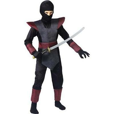 Ninja Fighter Halloween Costume Size Large L (10-12) Boys Child - Black Ninja Boy Fighter Child Halloween Costume
