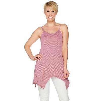 LOGO Layers by Lori Goldstein L Pink Sherbet Striped Camisole w/ Asymmetric Hem