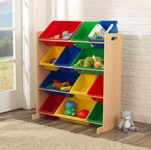 KidKraft Kids' Toy Storage Organizer with 12 Plastic Bins, N