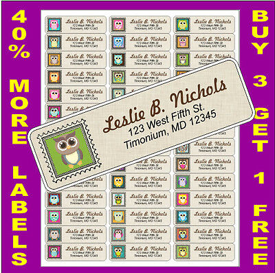 42 PERSONALIZED OWL ASSORTMENT  #1 - RETURN ADDRESS  LABELS - ADDRESS STICKERS  on Rummage
