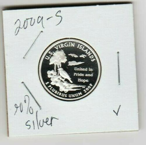 U S Virgin Islands 2009 S Quarter Dollar SILVER Proof United SV Pride Beach Palm