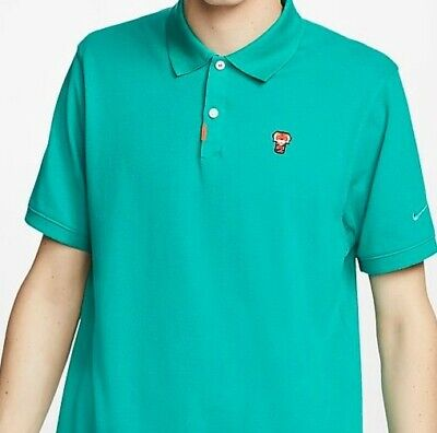 """Nike Golf 2020 Tiger Woods Polo """"Frank"""" Patch Green Masters Neptune Size MEDIUM"""