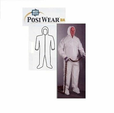 Posiwear 3609 White Hazmat Coverall Suit W Hood Sizes Large To 4xl 1ea
