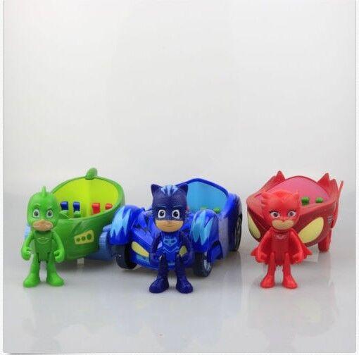 PJ Masks Action Figure Catboy Owlette Glider Gekko Spielzeugautos Car Auto 3PCs