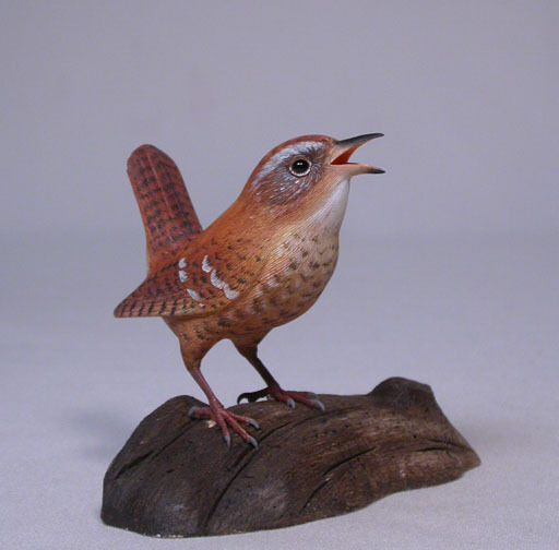 Winter Wren Original Bird Carving/Birdhug