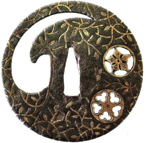 Iron Round Yoshiro Style Mon Family Crest Tsuba Early Edo Period