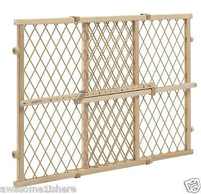 Wooden Dog Gate Baby Locking Bar Stairs Adjustable Safety Child Pet Fence Wood