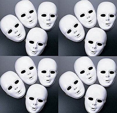 Lot of 24 MASKS White Plastic Full Face Decorating Craft Halloween School