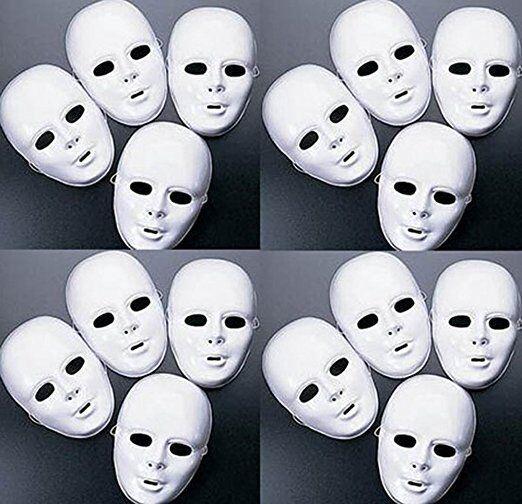 Lot of 24 MASKS White Plastic Full Face Decorating Craft Hal