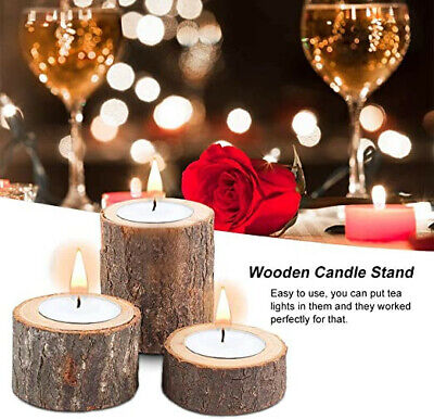 Wooden Tea Light Candle Holders, Set of 3