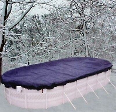 15'x25' Oval Above Ground Winter Swimming Pool Solid Cover 15Yr >REINFORCED HEM  15x25 Oval Pool