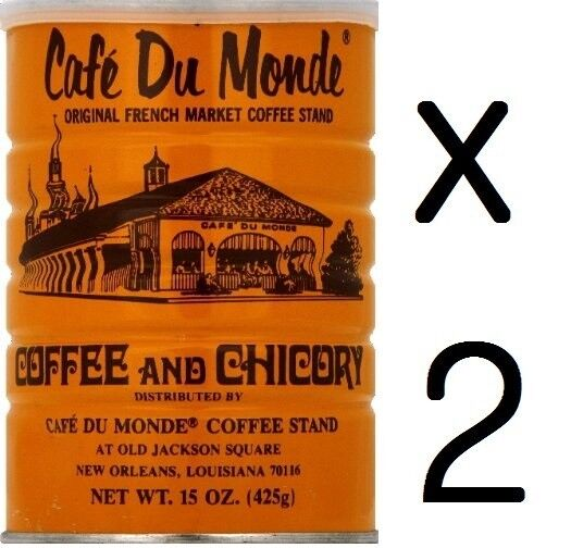 """""""Free Shipping"""" Lots of TWO Cans Café Du Monde Coffee Chicory 15 OZ (30Oz Total)"""
